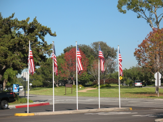 Flags in Lunada Bay Plaza